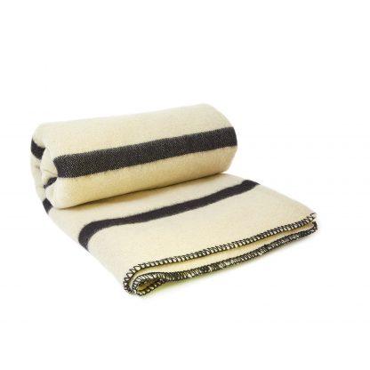 Vlněná deka extra silná bíla s černými pruhy 160 x 220 cm