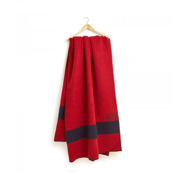 Vlněná deka extra silná červená s černými pruhy 160 x 220 cm