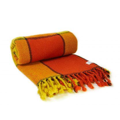 Vlněná deka žluto-oranžová 150 x 200 cm