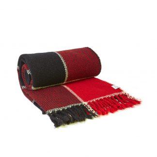 Vlněná deka červeno-černá 150 x 200 cm