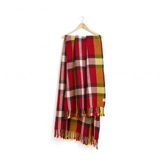 Vlněná deka červeno-žluto-bílá 150 x 200 cm