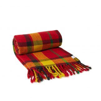 Vlněná deka červeno-žluto-zelená 150 x 200 cm