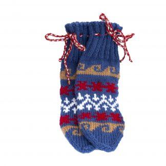 Vlněné ponožky modro-červeno-bílé č. 37-38