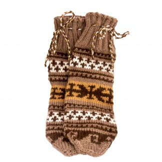 Vlněné ponožky hnědo-bílé č. 42-43