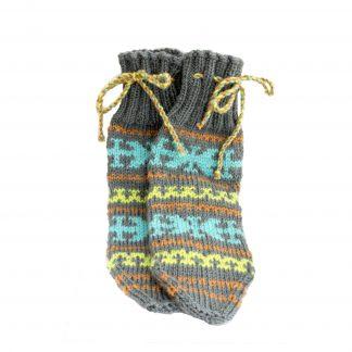 Vlněné ponožky šedo-modro-žluté č. 41-42