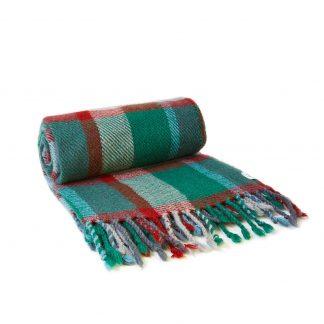 Vlněná deka zeleno-červeno-šedá 150 x 200 cm