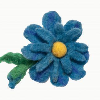 Brož kytka modrá
