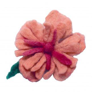 Brož kytka růžová - ruční výroba