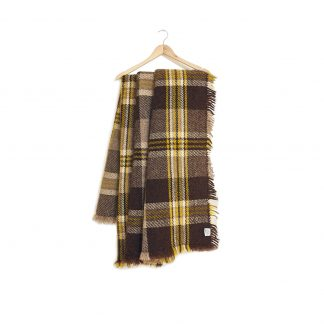 Vlněná deka silná hnědo-žluto-šedá 150 x 200 cm