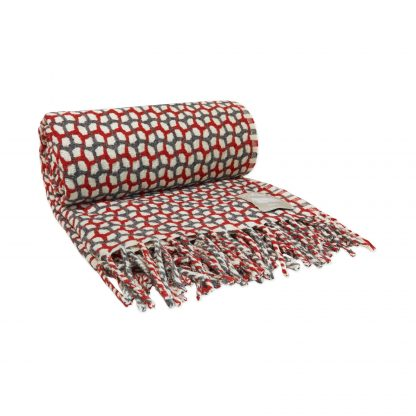 Vlněná merino deka Burel Gathering - červeno šedá 130 x 180 cm