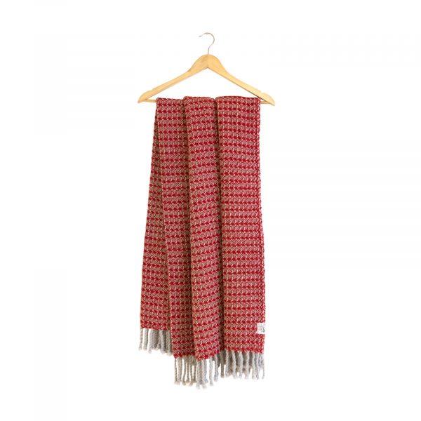 Merino deka se vzorem šedo-červená 130 x 170 cm