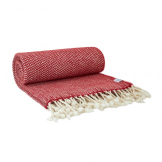 Merino deka vlnky bílo-červená 150 x 200 cm