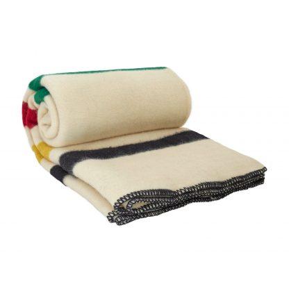 Vlněná deka extra silná bíla s barevnými pruhy 160 x 220 cm