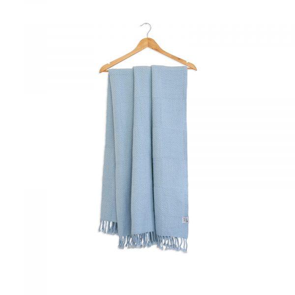 Vlněná merino deka kostky modrá 130 x 155 cm