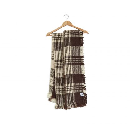 Vlněná deka silná nebarvená bílo hnědá 150 x 200 cm