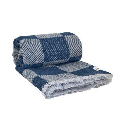 Merino deka šedo modrá, kostky 150 x 200 cm