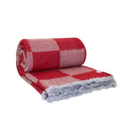Merino deka šedo červená, kostky 150 x 200 cm