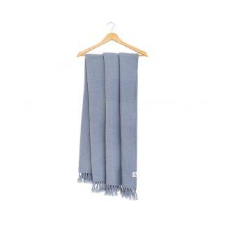 Vlněná merino deka kostky šedá 130 x 155 cm