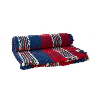 Merino deka silná modro-červeno-bílá 135 x 200 cm