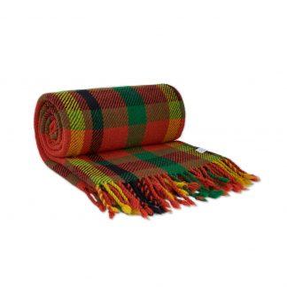 Vlněná deka oranžovo-žluto-zelená 150 x 200 cm