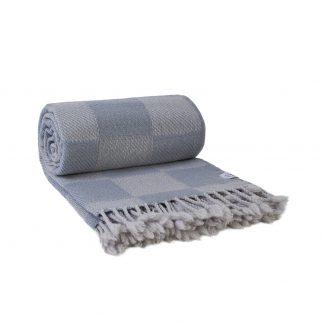 Vlněná merino deka kostky šedo - bílá 120 x 200 cm