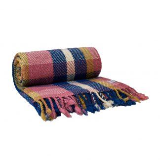 Vlněná deka modro-růžová 150 x 200 cm