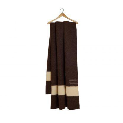 Vlněná deka extra silná přírodní s bílým pruhem 160 x 220 cm